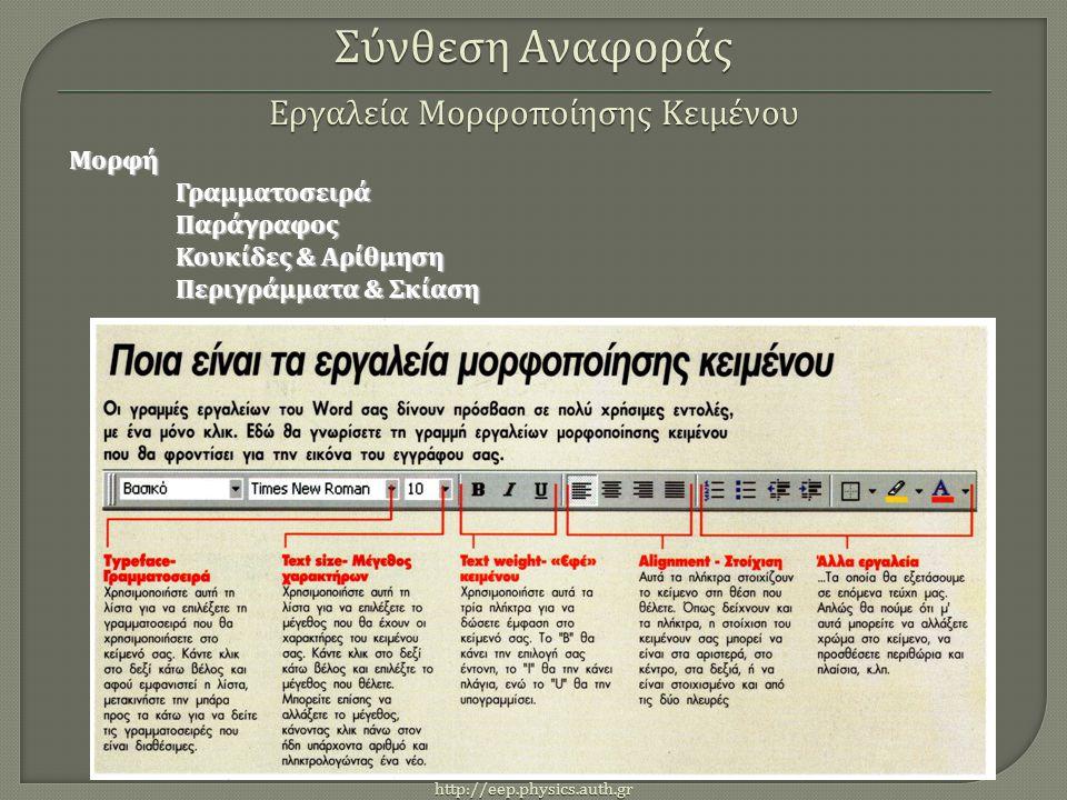 http://eep.physics.auth.gr ΜορφήΓραμματοσειράΠαράγραφος Κουκίδες & Αρίθμηση Περιγράμματα & Σκίαση Σύνθεση Αναφοράς Εργαλεία Μορφοποίησης Κειμένου