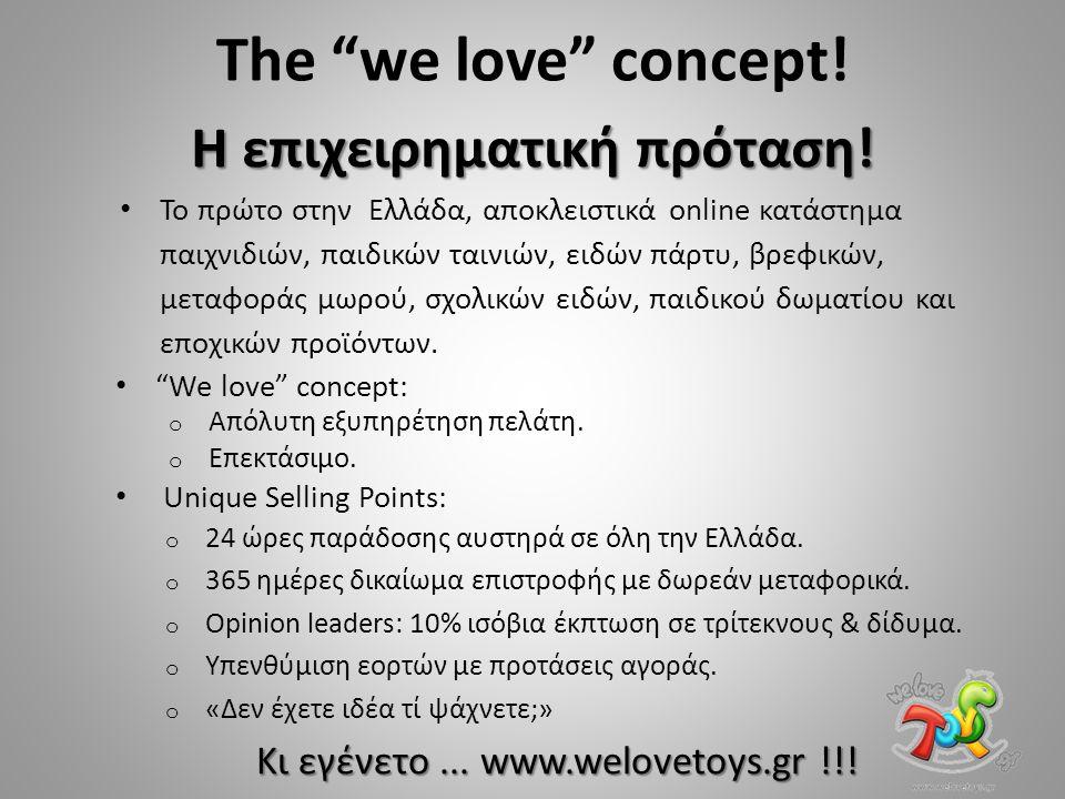 """Η επιχειρηματική πρόταση! The """"we love"""" concept! Το πρώτο στην Ελλάδα, αποκλειστικά online κατάστημα παιχνιδιών, παιδικών ταινιών, ειδών πάρτυ, βρεφικ"""
