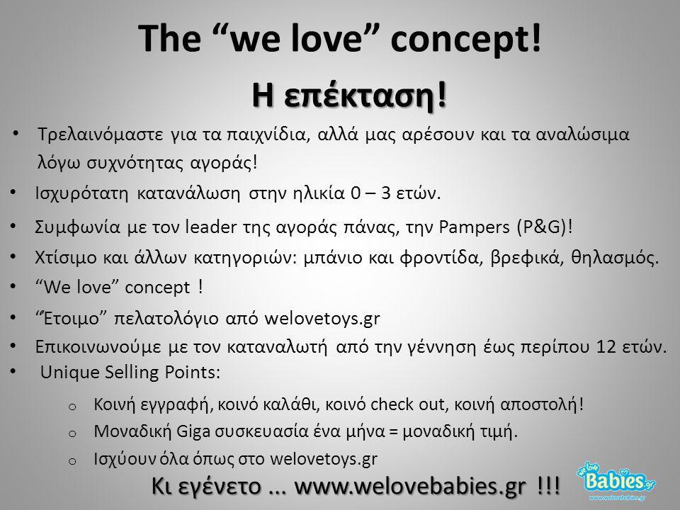 """Η επέκταση! The """"we love"""" concept! Τρελαινόμαστε για τα παιχνίδια, αλλά μας αρέσουν και τα αναλώσιμα λόγω συχνότητας αγοράς! """"We love"""" concept ! Ισχυρ"""