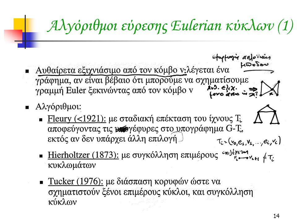 14 Αλγόριθμοι εύρεσης Eulerian κύκλων (1)