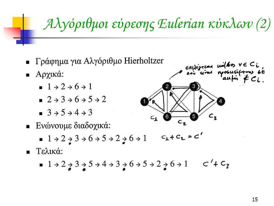 15 Αλγόριθμοι εύρεσης Eulerian κύκλων (2)