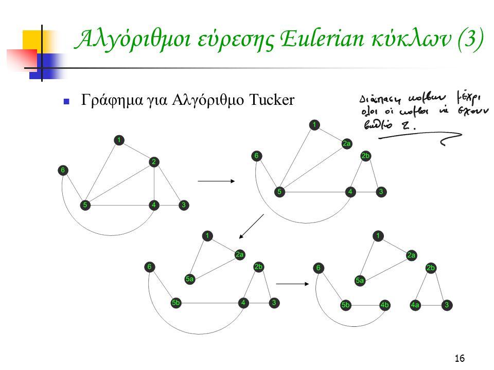 16 Αλγόριθμοι εύρεσης Eulerian κύκλων (3) Γράφημα για Αλγόριθμο Tucker