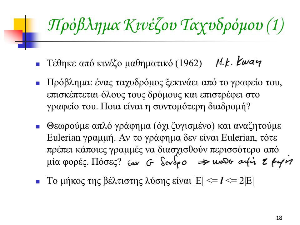 18 Πρόβλημα Κινέζου Ταχυδρόμου (1) Τέθηκε από κινέζο μαθηματικό (1962) Πρόβλημα: ένας ταχυδρόμος ξεκινάει από το γραφείο του, επισκέπτεται όλους τους