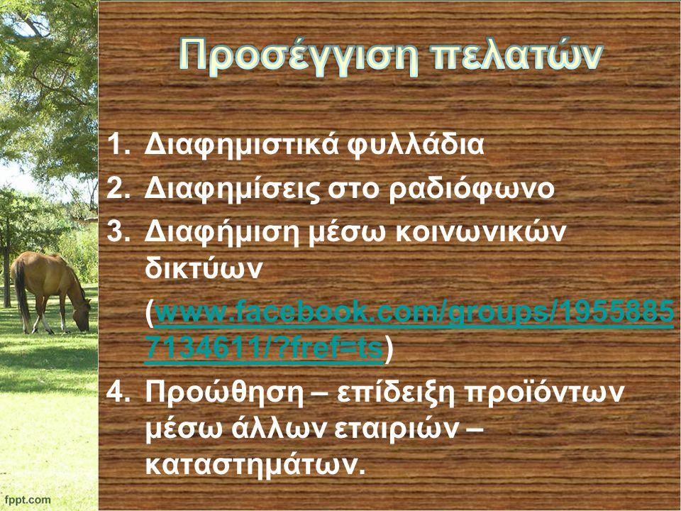 1.Διαφημιστικά φυλλάδια 2.Διαφημίσεις στο ραδιόφωνο 3.Διαφήμιση μέσω κοινωνικών δικτύων (www.facebook.com/groups/1955885 7134611/?fref=ts)www.facebook