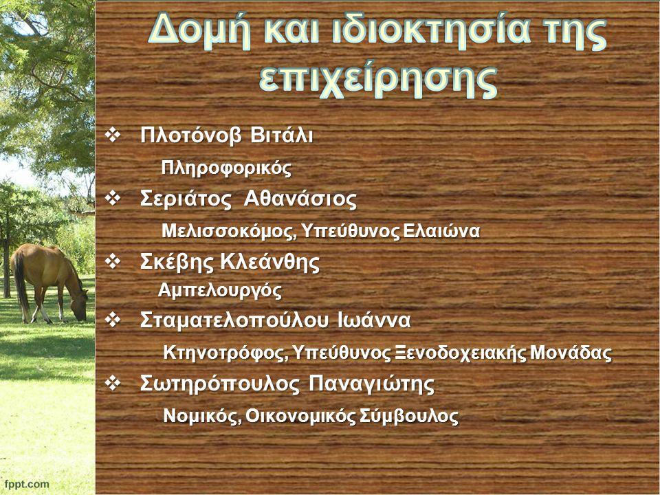  Πλοτόνοβ Βιτάλι Πληροφορικός Πληροφορικός  Σεριάτος Αθανάσιος Μελισσοκόμος, Υπεύθυνος Ελαιώνα Μελισσοκόμος, Υπεύθυνος Ελαιώνα  Σκέβης Κλεάνθης Αμπ