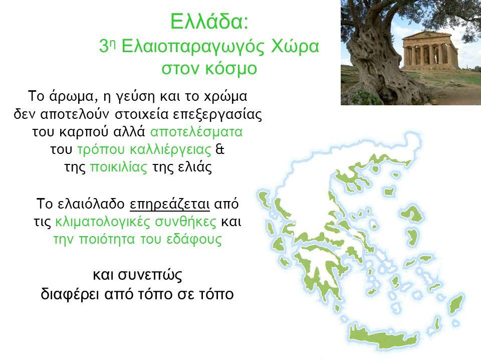 Το άρωμα, η γεύση και το χρώμα δεν αποτελούν στοιχεία επεξεργασίας του καρπού αλλά αποτελέσματα του τρόπου καλλιέργειας & της ποικιλίας της ελιάς Το ελαιόλαδο επηρεάζεται από τις κλιματολογικές συνθήκες και την ποιότητα του εδάφους Ελλάδα: 3 η Ελαιοπαραγωγός Χώρα στον κόσμο και συνεπώς διαφέρει από τόπο σε τόπο