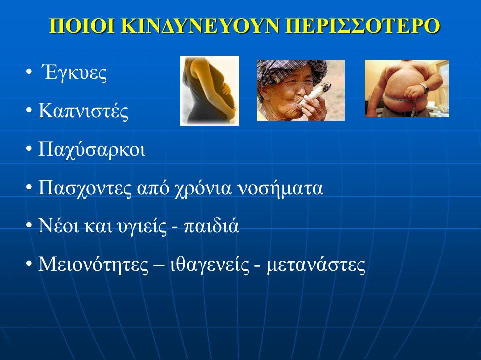 ΠΑΣΧΟΝΤΕΣ ΑΠΟ ΧΡΟΝΙΑ ΝΟΣΗΜΑΤΑ Πνευμονοπάθειες (άσθμα, χρόνια αποφρακτική πνευμονοπάθεια) Καρδιαγγειακά νοσήματα (όχι η απλή υπέρταση) Σακχαρώδης διαβήτης Ανοσοκαταστολή Χρόνια νεφρική ανεπάρκεια Παθήσεις νευρομυϊκού συστήματος