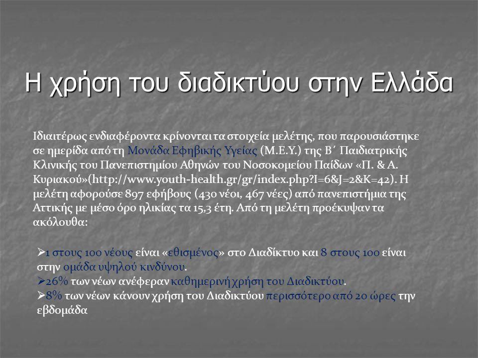 Η χρήση του διαδικτύου στην Ελλάδα Iδιαιτέρως ενδιαφέροντα κρίνονται τα στοιχεία μελέτης, που παρουσιάστηκε σε ημερίδα από τη Μονάδα Εφηβικής Υγείας (