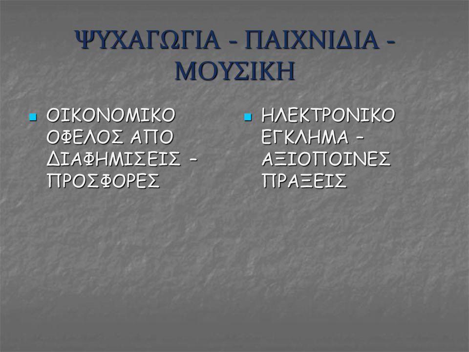 ΨΥΧΑΓΩΓΙΑ - ΠΑΙΧΝΙΔΙΑ - ΜΟΥΣΙΚΗ ΟΙΚΟΝΟΜΙΚΟ ΟΦΕΛΟΣ ΑΠΟ ΔΙΑΦΗΜΙΣΕΙΣ – ΠΡΟΣΦΟΡΕΣ ΟΙΚΟΝΟΜΙΚΟ ΟΦΕΛΟΣ ΑΠΟ ΔΙΑΦΗΜΙΣΕΙΣ – ΠΡΟΣΦΟΡΕΣ ΗΛΕΚΤΡΟΝΙΚΟ ΕΓΚΛΗΜΑ – ΑΞΙΟ