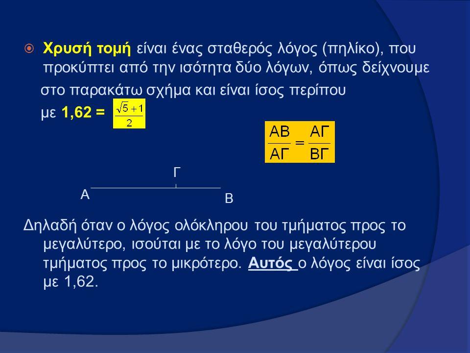  Χρυσή τομή είναι ένας σταθερός λόγος (πηλίκο), που προκύπτει από την ισότητα δύο λόγων, όπως δείχνουμε στο παρακάτω σχήμα και είναι ίσος περίπου με