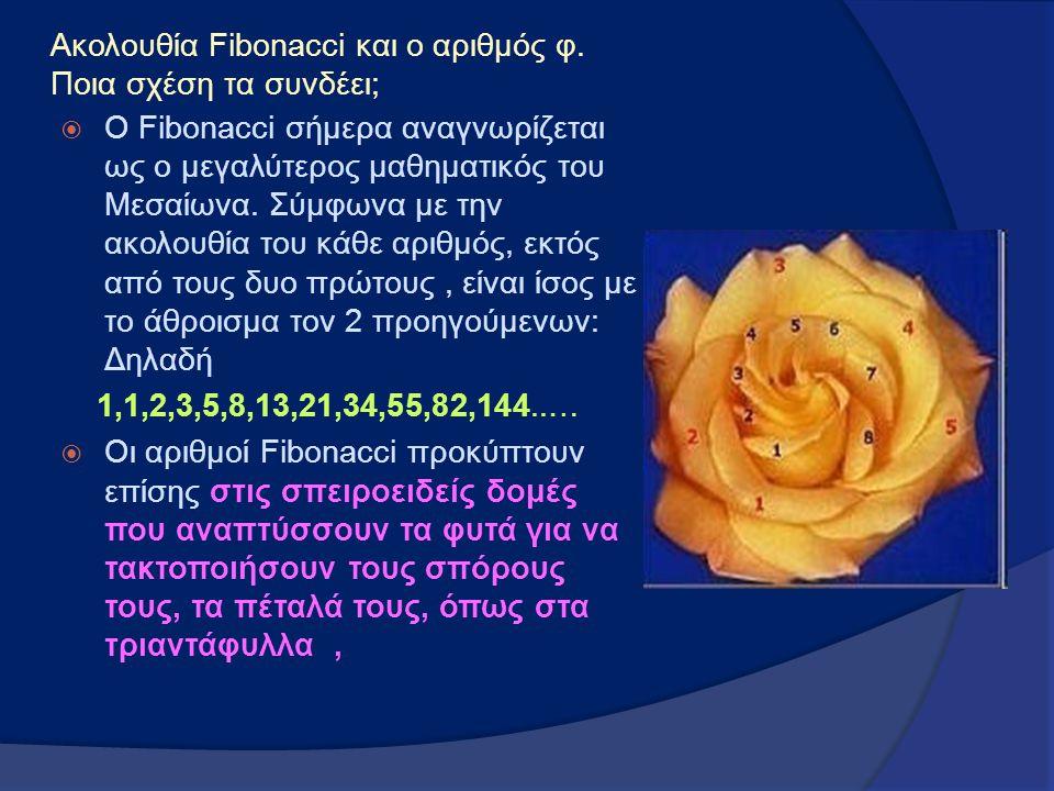 Ακολουθία Fibonacci και ο αριθμός φ. Ποια σχέση τα συνδέει;  Ο Fibonacci σήμερα αναγνωρίζεται ως ο μεγαλύτερος μαθηματικός του Μεσαίωνα. Σύμφωνα με τ