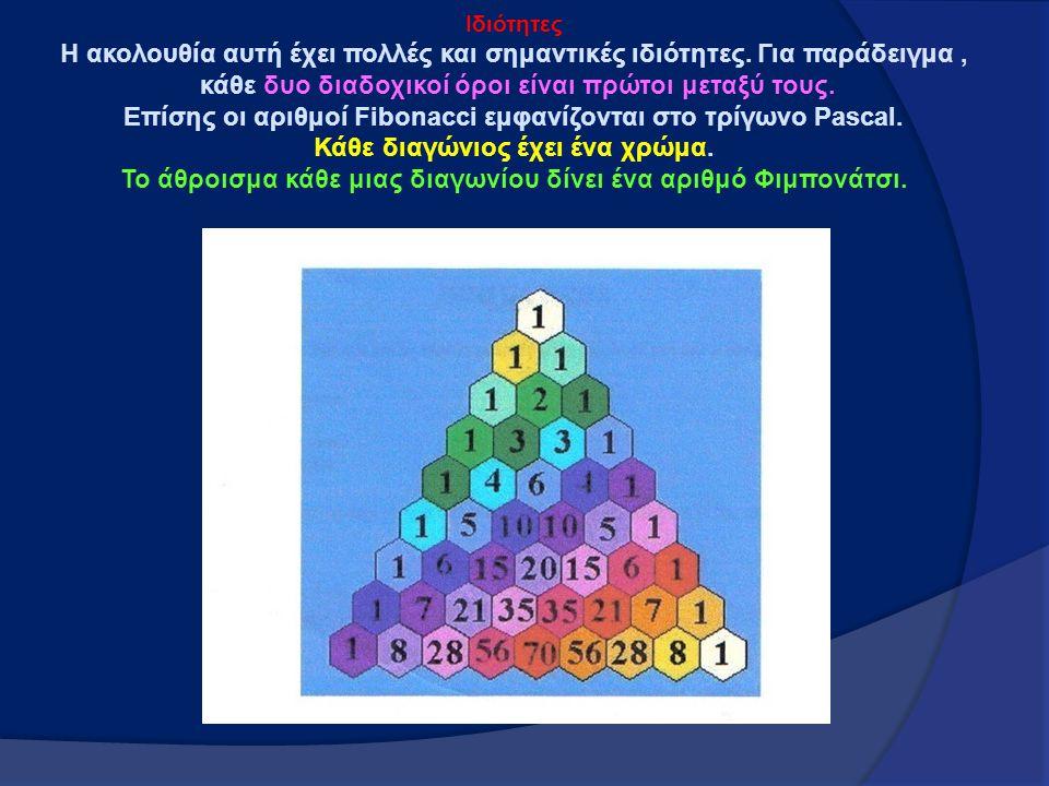 Iδιότητες Η ακολουθία αυτή έχει πολλές και σημαντικές ιδιότητες. Για παράδειγμα, κάθε δυο διαδοχικοί όροι είναι πρώτοι μεταξύ τους. Επίσης οι αριθμοί