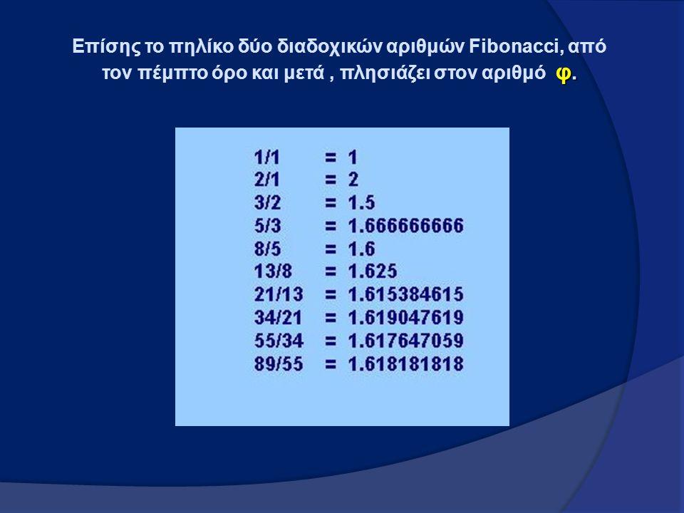 φ. Επίσης το πηλίκο δύο διαδοχικών αριθμών Fibonacci, από τον πέμπτο όρο και μετά, πλησιάζει στον αριθμό φ.
