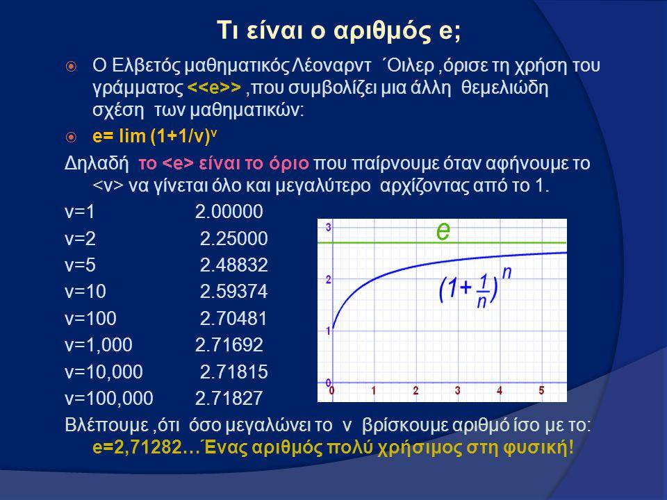 Τι είναι ο αριθμός e;  Ο Ελβετός μαθηματικός Λέοναρντ ΄Οιλερ,όρισε τη χρήση του γράμματος >,που συμβολίζει μια άλλη θεμελιώδη σχέση των μαθηματικών: