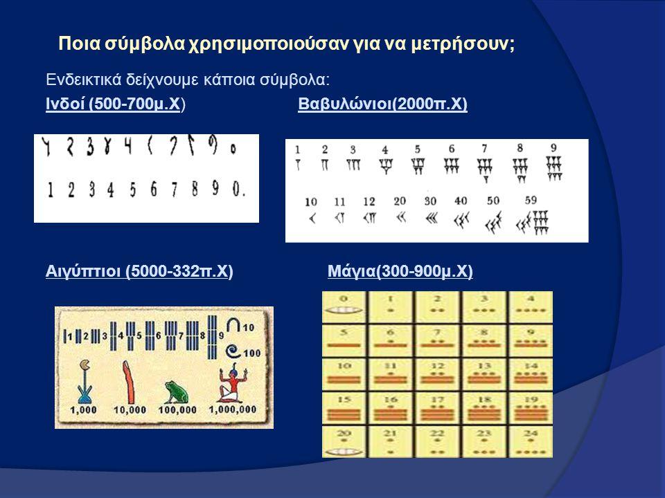 Ποια σύμβολα χρησιμοποιούσαν για να μετρήσουν; Ενδεικτικά δείχνουμε κάποια σύμβολα: Ινδοί (500-700μ.Χ) Βαβυλώνιοι(2000π.Χ) Αιγύπτιοι (5000-332π.Χ) Μάγ