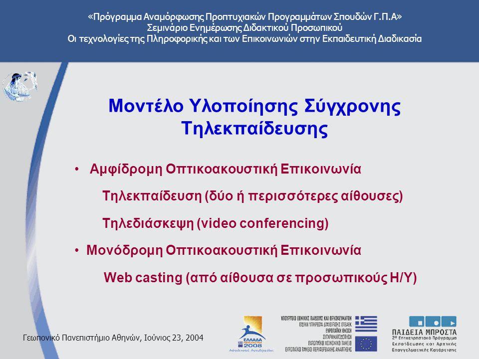 «Πρόγραμμα Αναμόρφωσης Προπτυχιακών Προγραμμάτων Σπουδών Γ.Π.Α» Σεμινάριο Ενημέρωσης Διδακτικού Προσωπικού Οι τεχνολογίες της Πληροφορικής και των Επικοινωνιών στην Εκπαιδευτική Διαδικασία Γεωπονικό Πανεπιστήμιο Αθηνών, Ιούνιος 23, 2004 Μοντέλο Υλοποίησης Σύγχρονης Τηλεκπαίδευσης Αμφίδρομη Οπτικοακουστική Επικοινωνία Τηλεκπαίδευση (δύο ή περισσότερες αίθουσες) Τηλεδιάσκεψη (video conferencing) Μονόδρομη Οπτικοακουστική Επικοινωνία Web casting (από αίθουσα σε προσωπικούς Η/Υ)