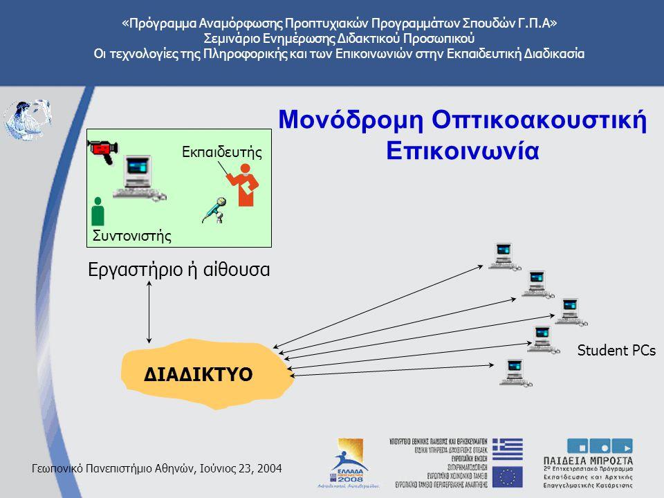 «Πρόγραμμα Αναμόρφωσης Προπτυχιακών Προγραμμάτων Σπουδών Γ.Π.Α» Σεμινάριο Ενημέρωσης Διδακτικού Προσωπικού Οι τεχνολογίες της Πληροφορικής και των Επικοινωνιών στην Εκπαιδευτική Διαδικασία Γεωπονικό Πανεπιστήμιο Αθηνών, Ιούνιος 23, 2004 Μονόδρομη Οπτικοακουστική Επικοινωνία ΔΙΑΔΙΚΤΥΟ Student PCs Εργαστήριο ή αίθουσα Εκπαιδευτής Συντονιστής