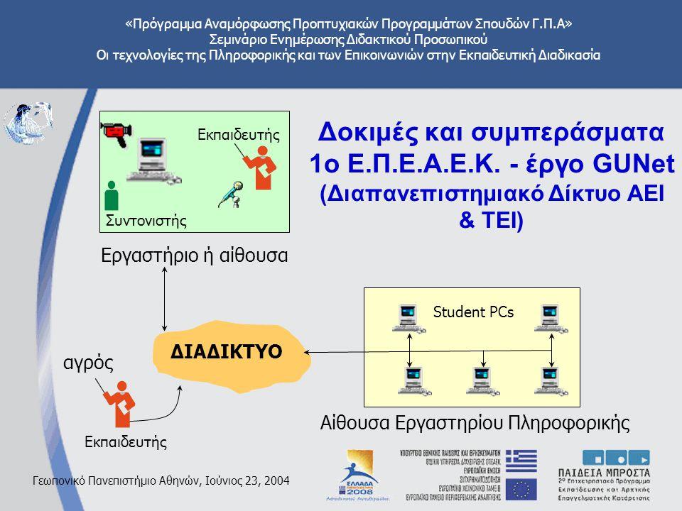 «Πρόγραμμα Αναμόρφωσης Προπτυχιακών Προγραμμάτων Σπουδών Γ.Π.Α» Σεμινάριο Ενημέρωσης Διδακτικού Προσωπικού Οι τεχνολογίες της Πληροφορικής και των Επικοινωνιών στην Εκπαιδευτική Διαδικασία Γεωπονικό Πανεπιστήμιο Αθηνών, Ιούνιος 23, 2004 Δοκιμές και συμπεράσματα 1ο Ε.Π.Ε.Α.Ε.Κ.