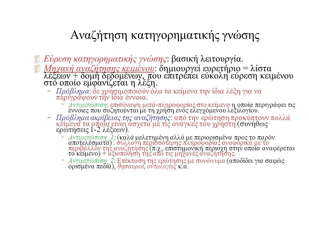 Αναζήτηση κατηγορηματικής γνώσης  Εύρεση κατηγορηματικής γνώσης: βασική λειτουργία.  Μηχανή αναζήτησης κειμένου: δημιουργεί ευρετήριο = λίστα λέξεων