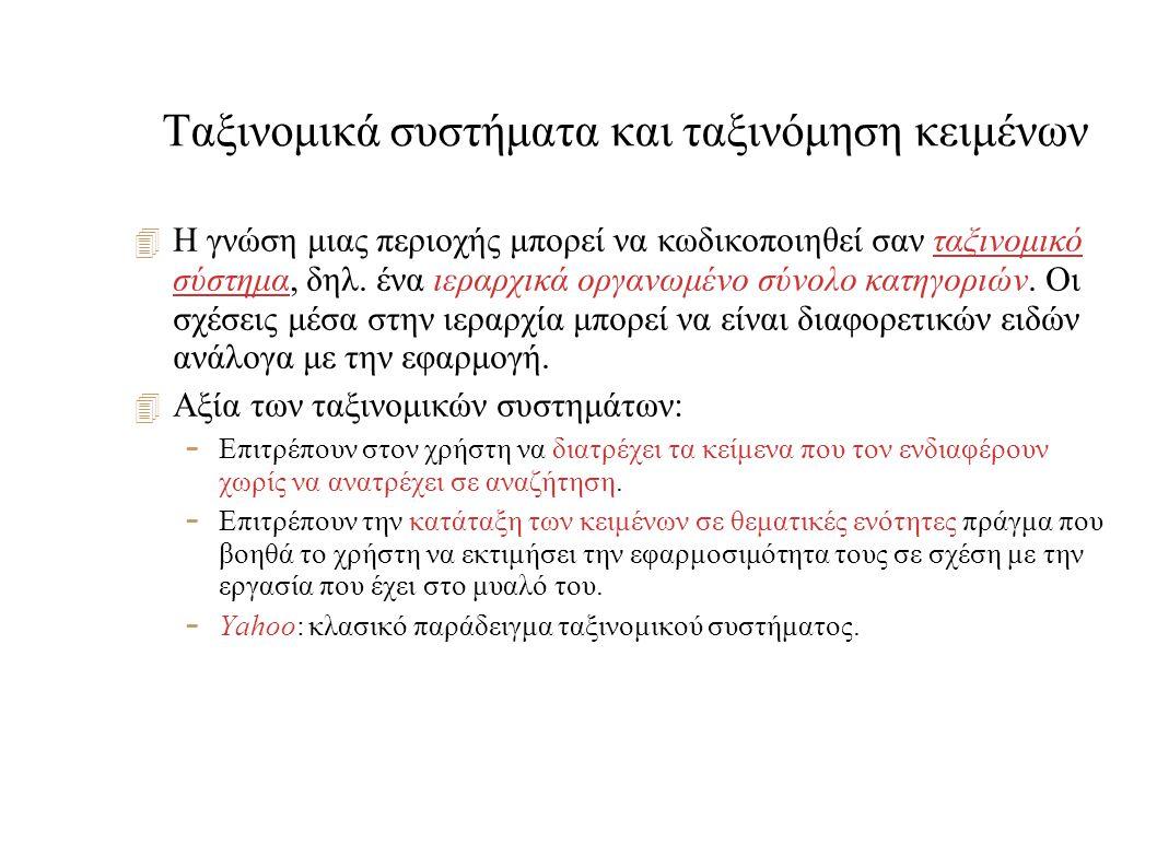 Ταξινομικά συστήματα και ταξινόμηση κειμένων  Η γνώση μιας περιοχής μπορεί να κωδικοποιηθεί σαν ταξινομικό σύστημα, δηλ.