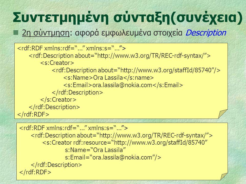 """18 Συντετμημένη σύνταξη(συνέχεια) 2η σύντμηση: αφορά εμφωλευμένα στοιχεία Description Ora Lassila ora.lassila@nokia.com <s:Creator rdf:resource=""""http:"""