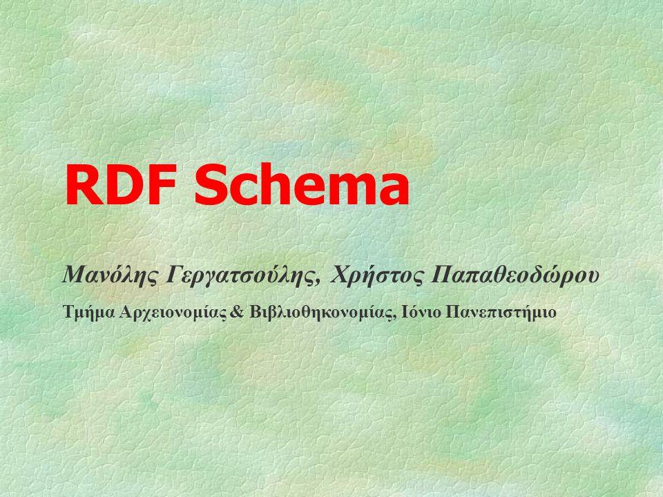 RDF Schema Μανόλης Γεργατσούλης, Χρήστος Παπαθεοδώρου Τμήμα Αρχειονομίας & Βιβλιοθηκονομίας, Ιόνιο Πανεπιστήμιο