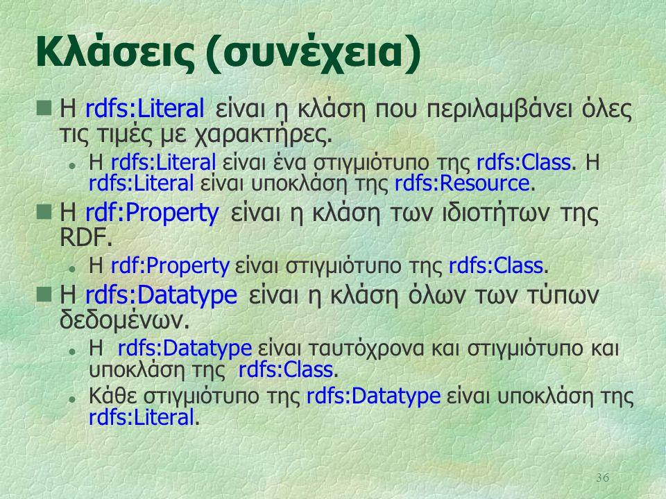 36 Κλάσεις (συνέχεια) Η rdfs:Literal είναι η κλάση που περιλαμβάνει όλες τις τιμές με χαρακτήρες. l Η rdfs:Literal είναι ένα στιγμιότυπο της rdfs:Clas