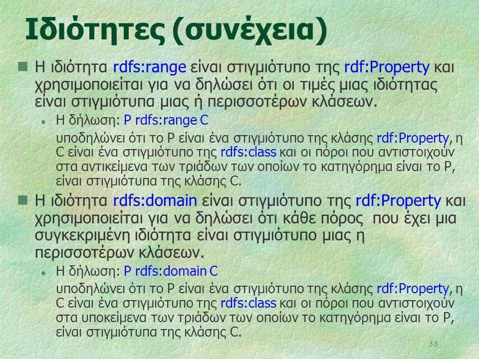 38 Ιδιότητες (συνέχεια) Η ιδιότητα rdfs:range είναι στιγμιότυπο της rdf:Property και χρησιμοποιείται για να δηλώσει ότι οι τιμές μιας ιδιότητας είναι