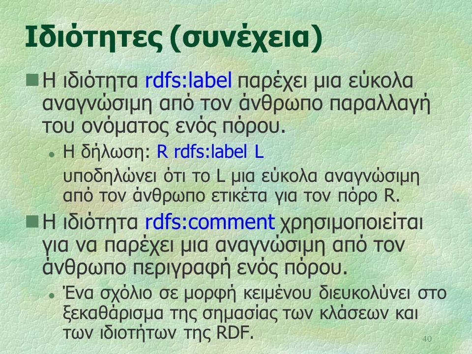 40 Ιδιότητες (συνέχεια) Η ιδιότητα rdfs:label παρέχει μια εύκολα αναγνώσιμη από τον άνθρωπο παραλλαγή του ονόματος ενός πόρου. l Η δήλωση: R rdfs:labe