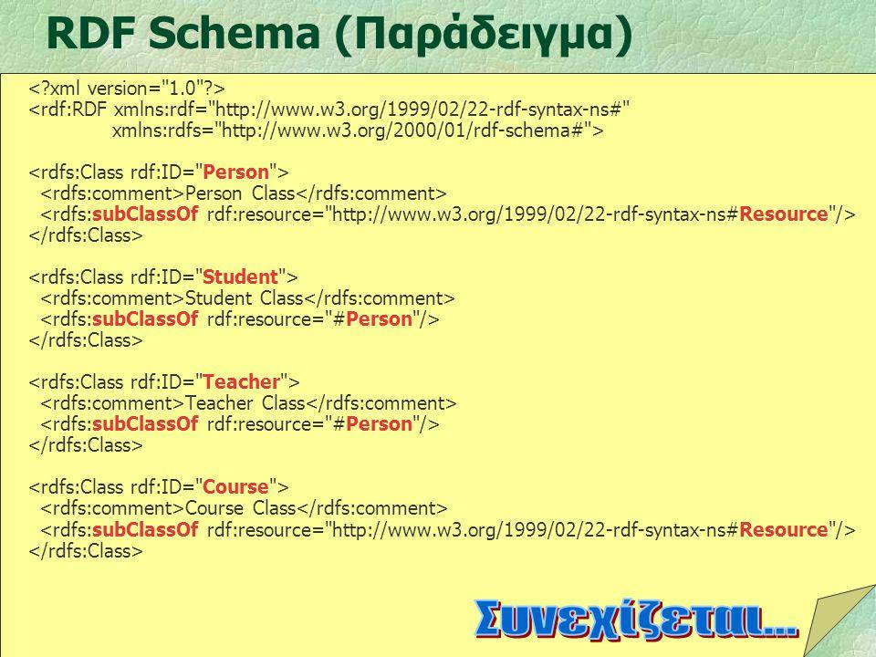 45 RDF Schema (Παράδειγμα) <rdf:RDF xmlns:rdf=