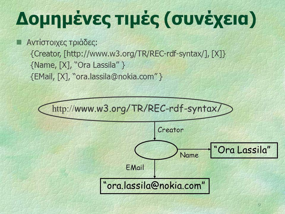 """9 Δομημένες τιμές (συνέχεια) Αντίστοιχες τριάδες: {Creator, [http://www.w3.org/TR/REC-rdf-syntax/], [X]} {Name, [X], """"Ora Lassila"""" } {EMail, [X], """"ora"""