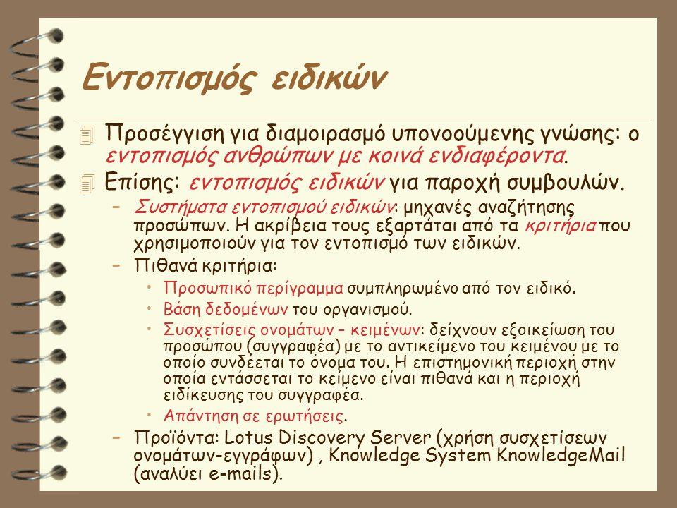 Εντο π ισμός ειδικών  Προσέγγιση για διαμοιρασμό υπονοούμενης γνώσης: ο εντοπισμός ανθρώπων με κοινά ενδιαφέροντα.