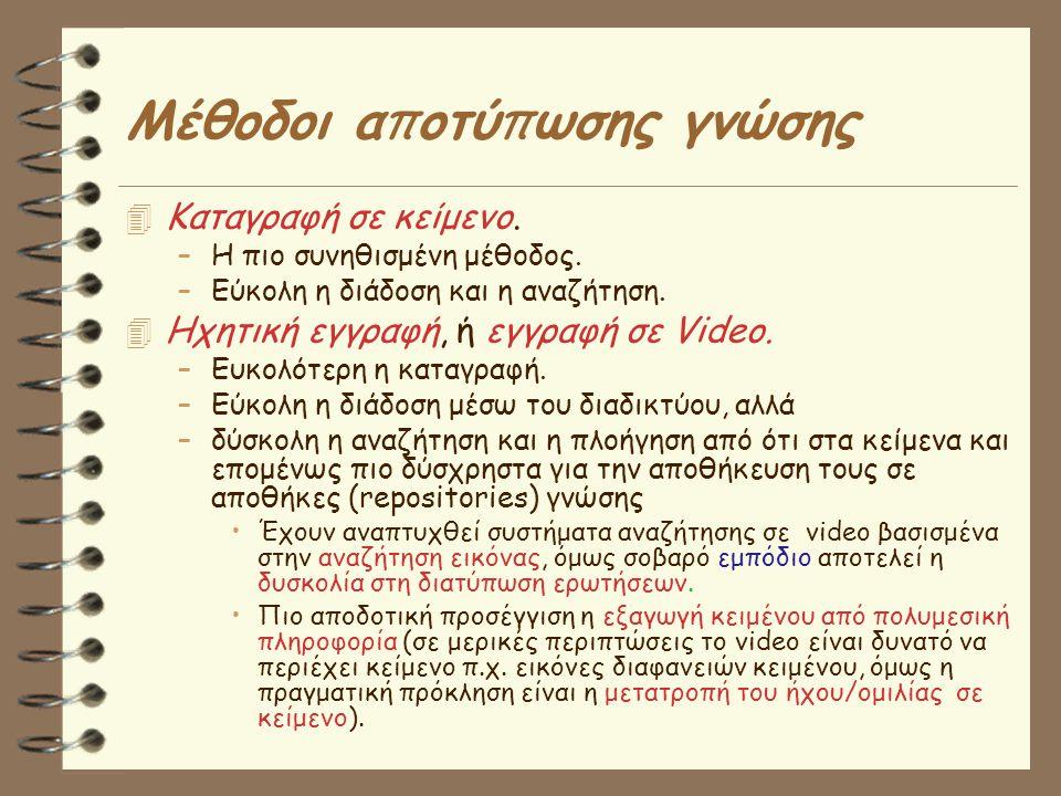 Μέθοδοι α π οτύ π ωσης γνώσης  Καταγραφή σε κείμενο.