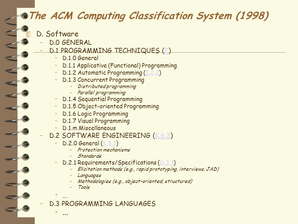 The ACM Computing Classification System (1998)  D.