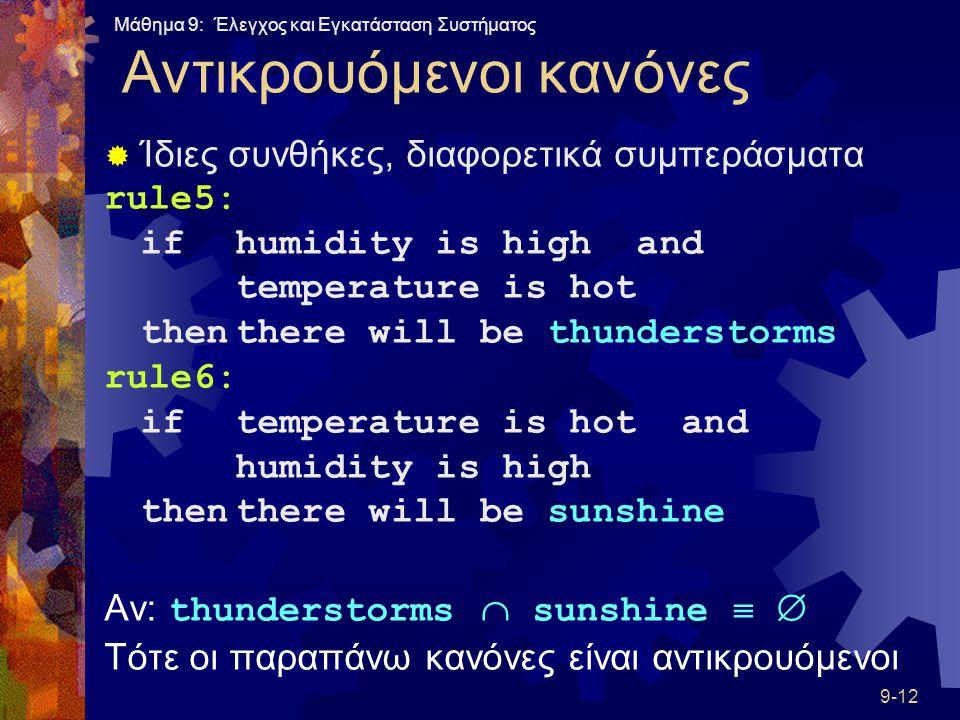 Μάθημα 9: Έλεγχος και Εγκατάσταση Συστήματος 9-12 Αντικρουόμενοι κανόνες  Ίδιες συνθήκες, διαφορετικά συμπεράσματα rule5: ifhumidity is high and temperature is hot thenthere will be thunderstorms rule6: iftemperature is hot and humidity is high thenthere will be sunshine Αν: thunderstorms  sunshine   Τότε οι παραπάνω κανόνες είναι αντικρουόμενοι