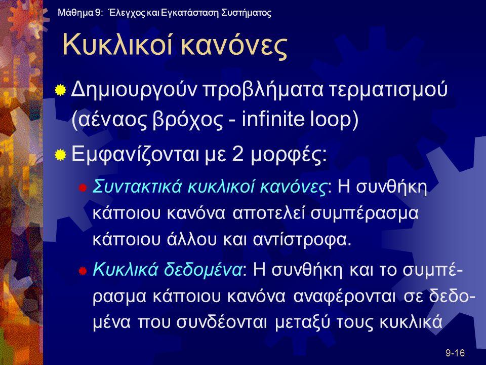 Μάθημα 9: Έλεγχος και Εγκατάσταση Συστήματος 9-16 Κυκλικοί κανόνες  Δημιουργούν προβλήματα τερματισμού (αέναος βρόχος - infinite loop)  Εμφανίζονται με 2 μορφές:  Συντακτικά κυκλικοί κανόνες: Η συνθήκη κάποιου κανόνα αποτελεί συμπέρασμα κάποιου άλλου και αντίστροφα.