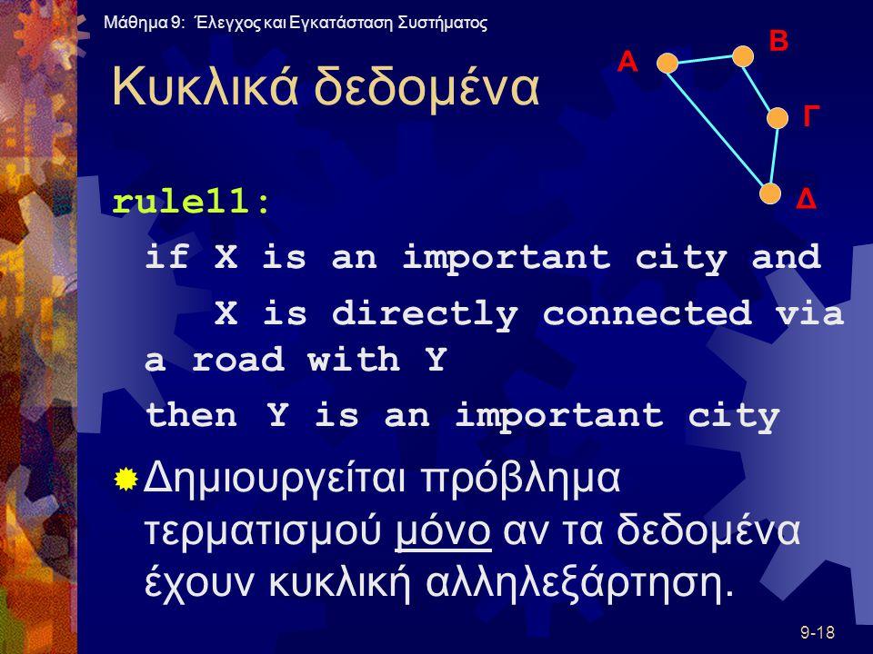 Μάθημα 9: Έλεγχος και Εγκατάσταση Συστήματος 9-18 Κυκλικά δεδομένα rule11: if X is an important city and X is directly connected via a road with Y thenY is an important city  Δημιουργείται πρόβλημα τερματισμού μόνο αν τα δεδομένα έχουν κυκλική αλληλεξάρτηση.