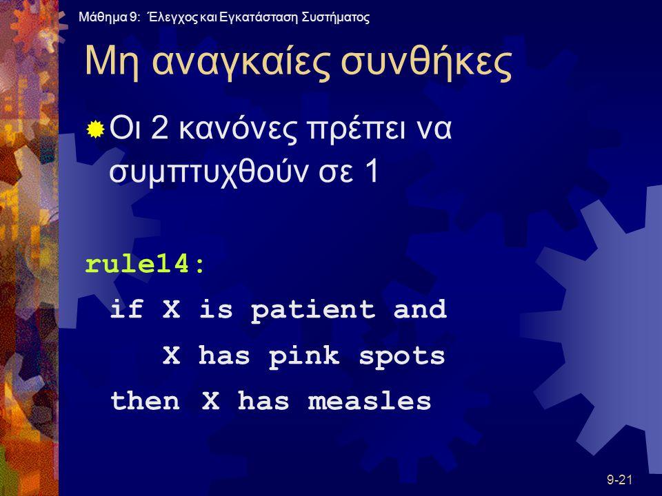 Μάθημα 9: Έλεγχος και Εγκατάσταση Συστήματος 9-21 Μη αναγκαίες συνθήκες  Οι 2 κανόνες πρέπει να συμπτυχθούν σε 1 rule14: ifX is patient and X has pink spots thenX has measles