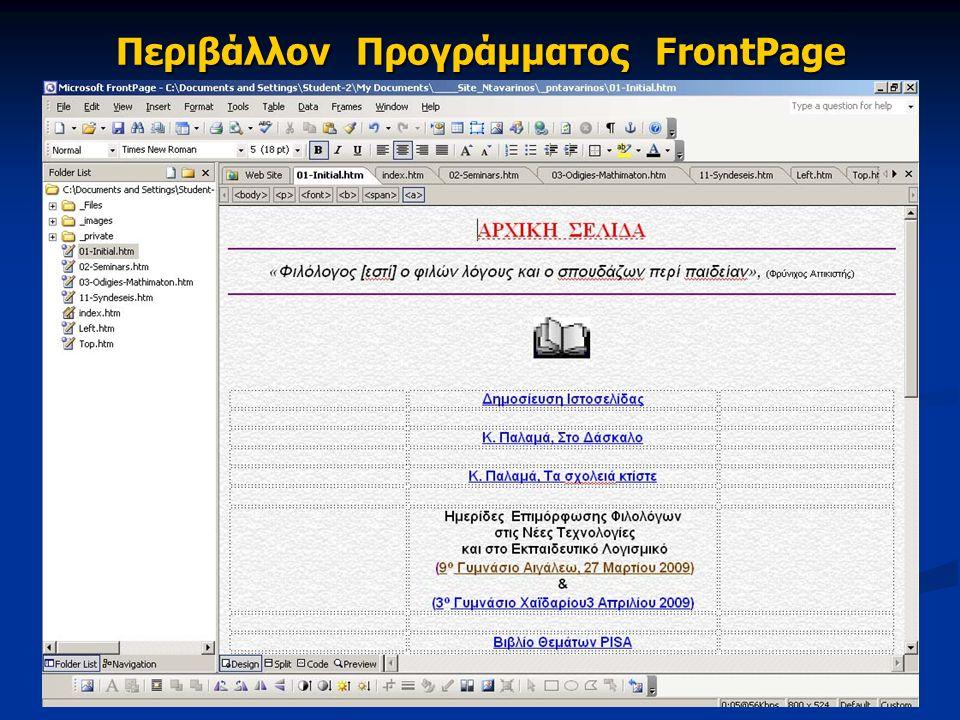 Περιβάλλον Προγράμματος FrontPage