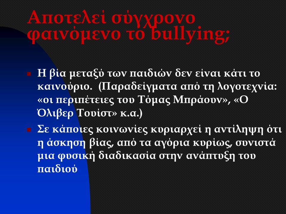 Ο κύκλος της βίας Θύμα bully Φίλος 2 bully Ενεργός παρατηρητής Διαμαρτύρεται πράττει Παθητικός παρατηρητής 4 αδιαφορεί Παθητικός παρατηρητής 3 Φοβάται σιωπά Παθητικός παρατηρητής 2 Αποδοκιμάζει σιωπά Παθητικός Παρατηρητής 1 επικροτεί Φίλος 1 bully