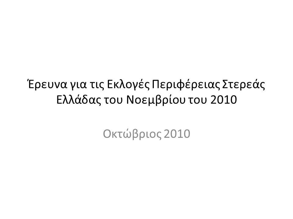Έρευνα για τις Εκλογές Περιφέρειας Στερεάς Ελλάδας του Νοεμβρίου του 2010 Οκτώβριος 2010