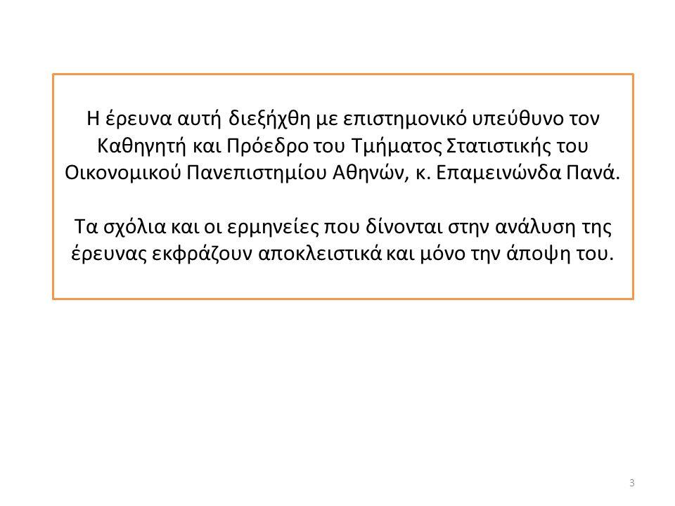 Η έρευνα αυτή διεξήχθη με επιστημονικό υπεύθυνο τον Καθηγητή και Πρόεδρο του Τμήματος Στατιστικής του Οικονομικού Πανεπιστημίου Αθηνών, κ.