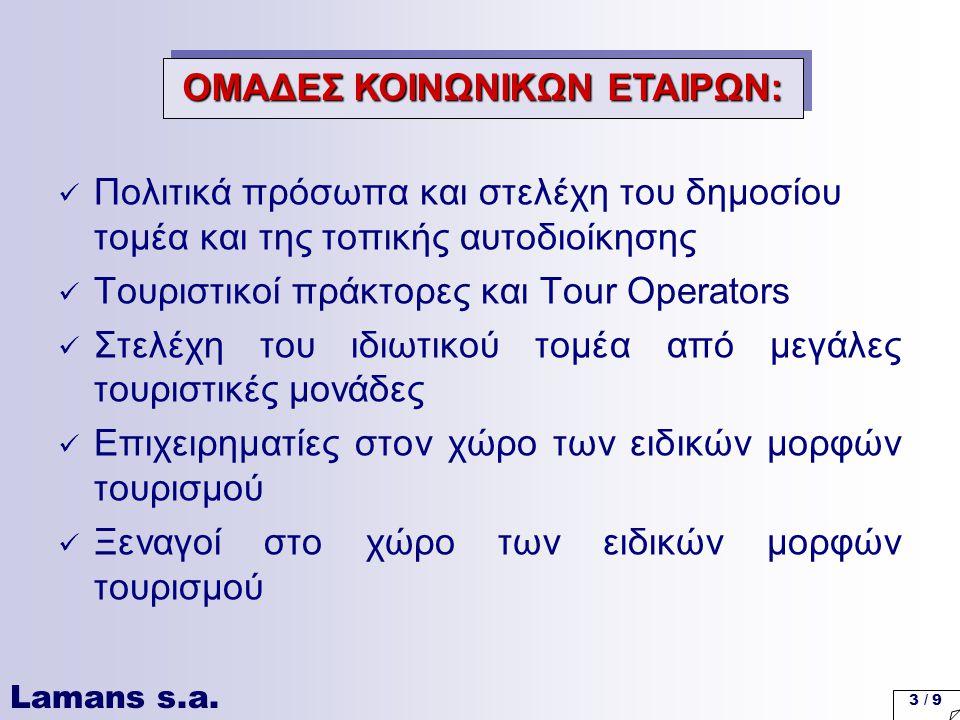 Lamans s.a. 3 / 9 Πολιτικά πρόσωπα και στελέχη του δημοσίου τομέα και της τοπικής αυτοδιοίκησης Τουριστικοί πράκτορες και Tour Operators Στελέχη του ι