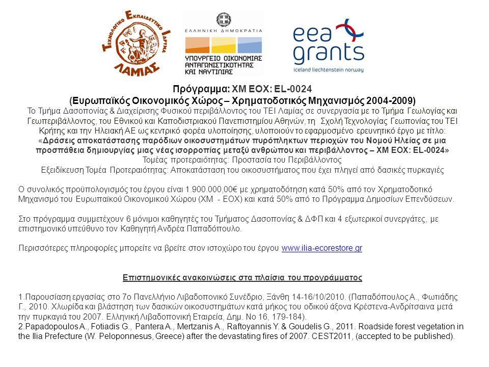 Πρόγραμμα: XM EOX: EL-0024 (Ευρωπαϊκός Οικονομικός Χώρος – Χρηματοδοτικός Μηχανισμός 2004-2009) Το Τμήμα Δασοπονίας & Διαχείρισης Φυσικού περιβάλλοντος του ΤΕΙ Λαμίας σε συνεργασία με το Τμήμα Γεωλογίας και Γεωπεριβάλλοντος, του Εθνικού και Καποδιστριακού Πανεπιστημίου Αθηνών, τη Σχολή Τεχνολογίας Γεωπονίας του ΤΕΙ Κρήτης και την Ηλειακή ΑΕ ως κεντρικό φορέα υλοποίησης, υλοποιούν το εφαρμοσμένο ερευνητικό έργο με τίτλο: «Δράσεις αποκατάστασης παρόδιων οικοσυστημάτων πυρόπληκτων περιοχών του Νομού Ηλείας σε μια προσπάθεια δημιουργίας μιας νέας ισορροπίας μεταξύ ανθρώπου και περιβάλλοντος – XM EOX: EL-0024» Τομέας προτεραιότητας: Προστασία του Περιβάλλοντος Εξειδίκευση Τομέα Προτεραιότητας: Αποκατάσταση του οικοσυστήματος που έχει πληγεί από δασικές πυρκαγιές Ο συνολικός προϋπολογισμός του έργου είναι 1.900.000,00€ με χρηματοδότηση κατά 50% από τον Χρηματοδοτικό Μηχανισμό του Ευρωπαϊκού Οικονομικού Χώρου (ΧΜ - ΕΟΧ) και κατά 50% από το Πρόγραμμα Δημοσίων Επενδύσεων.