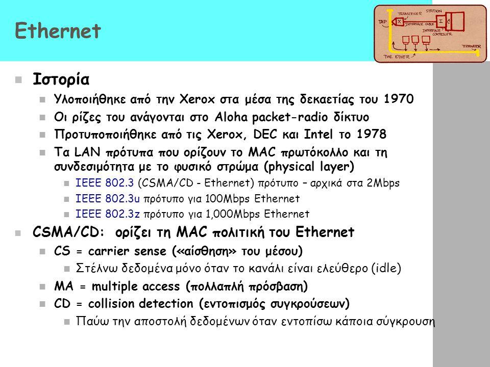 Ethernet Ιστορία Υλοποιήθηκε από την Xerox στα μέσα της δεκαετίας του 1970 Οι ρίζες του ανάγονται στο Aloha packet-radio δίκτυο Προτυποποιήθηκε από τις Xerox, DEC και Intel το 1978 Τα LAN πρότυπα που ορίζουν το MAC πρωτόκολλο και τη συνδεσιμότητα με το φυσικό στρώμα (physical layer) IEEE 802.3 (CSMA/CD - Ethernet) πρότυπο – αρχικά στα 2Mbps IEEE 802.3u πρότυπο για 100Mbps Ethernet IEEE 802.3z πρότυπο για 1,000Mbps Ethernet CSMA/CD: ορίζει τη MAC πολιτική του Ethernet CS = carrier sense («αίσθηση» του μέσου) Στέλνω δεδομένα μόνο όταν το κανάλι είναι ελεύθερο (idle) MA = multiple access (πολλαπλή πρόσβαση) CD = collision detection (εντοπισμός συγκρούσεων) Παύω την αποστολή δεδομένων όταν εντοπίσω κάποια σύγκρουση