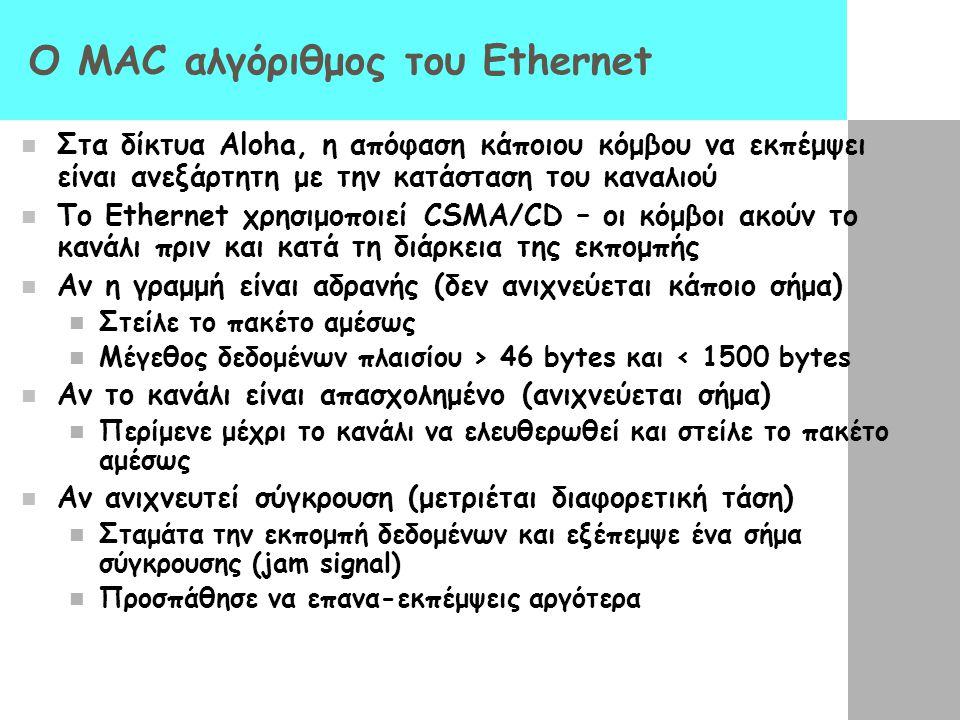 O MAC αλγόριθμος του Ethernet Στα δίκτυα Aloha, η απόφαση κάποιου κόμβου να εκπέμψει είναι ανεξάρτητη με την κατάσταση του καναλιού Το Ethernet χρησιμοποιεί CSMA/CD – οι κόμβοι ακούν το κανάλι πριν και κατά τη διάρκεια της εκπομπής Αν η γραμμή είναι αδρανής (δεν ανιχνεύεται κάποιο σήμα) Στείλε το πακέτο αμέσως Μέγεθος δεδομένων πλαισίου > 46 bytes και < 1500 bytes Αν το κανάλι είναι απασχολημένο (ανιχνεύεται σήμα) Περίμενε μέχρι το κανάλι να ελευθερωθεί και στείλε το πακέτο αμέσως Αν ανιχνευτεί σύγκρουση (μετριέται διαφορετική τάση) Σταμάτα την εκπομπή δεδομένων και εξέπεμψε ένα σήμα σύγκρουσης (jam signal) Προσπάθησε να επανα-εκπέμψεις αργότερα