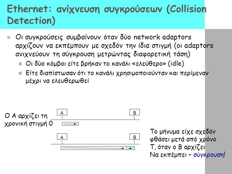 Ethernet: ανίχνευση συγκρούσεων (Collision Detection) Οι συγκρούσεις συμβαίνουν όταν δύο network adaptors αρχίζουν να εκπέμπουν με σχεδόν την ίδια στιγμή (οι adaptors ανιχνεύουν τη σύγκρουση μετρώντας διαφορετική τάση) Οι δύο κόμβοι είτε βρήκαν το κανάλι «ελεύθερο» (idle) Είτε διαπίστωσαν ότι το κανάλι χρησιμοποιούνταν και περίμεναν μέχρι να ελευθερωθεί AB AB Ο A αρχίζει τη χρονική στιγμή 0 Το μήνυμα είχε σχεδόν φθάσει μετά από χρόνο T, όταν ο Β αρχίζει Να εκπέμπει – σύγκρουση!
