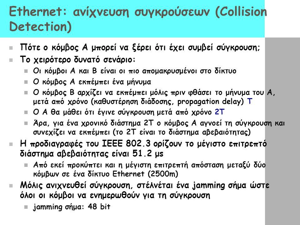 Ethernet: ανίχνευση συγκρούσεων (Collision Detection) Πότε ο κόμβος A μπορεί να ξέρει ότι έχει συμβεί σύγκρουση; Το χειρότερο δυνατό σενάριο: Οι κόμβοι Α και Β είναι οι πιο απομακρυσμένοι στο δίκτυο Ο κόμβος Α εκπέμπει ένα μήνυμα Ο κόμβος Β αρχίζει να εκπέμπει μόλις πριν φθάσει το μήνυμα του Α, μετά από χρόνο (καθυστέρηση διάδοσης, propagation delay) Τ Ο Α θα μάθει ότι έγινε σύγκρουση μετά από χρόνο 2Τ Άρα, για ένα χρονικό διάστημα 2Τ ο κόμβος Α αγνοεί τη σύγκρουση και συνεχίζει να εκπέμπει (το 2Τ είναι το διάστημα αβεβαιότητας) Η προδιαγραφές του IEEE 802.3 ορίζουν το μέγιστο επιτρεπτό διάστημα αβεβαιότητας είναι 51.2 μs Από εκεί προκύπτει και η μέγιστη επιτρεπτή απόσταση μεταξύ δύο κόμβων σε ένα δίκτυο Ethernet (2500m) Μόλις ανιχνευθεί σύγκρουση, στέλνέται ένα jamming σήμα ώστε όλοι οι κόμβοι να ενημερωθούν για τη σύγκρουση jamming σήμα: 48 bit