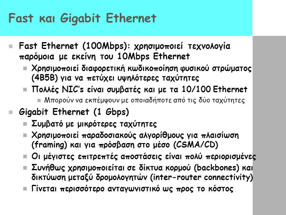 Fast και Gigabit Ethernet Fast Ethernet (100Mbps): χρησιμοποιεί τεχνολογία παρόμοια με εκείνη του 10Mbps Ethernet Χρησιμοποιεί διαφορετική κωδικοποίηση φυσικού στρώματος (4B5B) για να πετύχει υψηλότερες ταχύτητες Πολλές NIC's είναι συμβατές και με τα 10/100 Ethernet Μπορούν να εκπέμψουν με οποιαδήποτε από τις δύο ταχύτητες Gigabit Ethernet (1 Gbps) Συμβατό με μικρότερες ταχύτητες Χρησιμοποιεί παραδοσιακούς αλγορίθμους για πλαισίωση (framing) και για πρόσβαση στο μέσο (CSMA/CD) Οι μέγιστες επιτρεπτές αποστάσεις είναι πολύ περιορισμένες Συνήθως χρησιμοποιείται σε δίκτυα κορμού (backbones) και δικτύωση μεταξύ δρομολογητών (inter-router connectivity) Γίνεται περισσότερο ανταγωνιστικό ως προς το κόστος