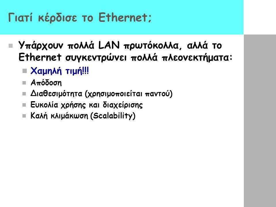 Γιατί κέρδισε το Ethernet; Υπάρχουν πολλά LAN πρωτόκολλα, αλλά το Ethernet συγκεντρώνει πολλά πλεονεκτήματα: Χαμηλή τιμή!!.